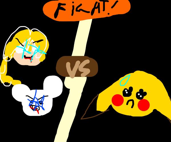 Mickey And Elsa Fighting Pikachu Drawception
