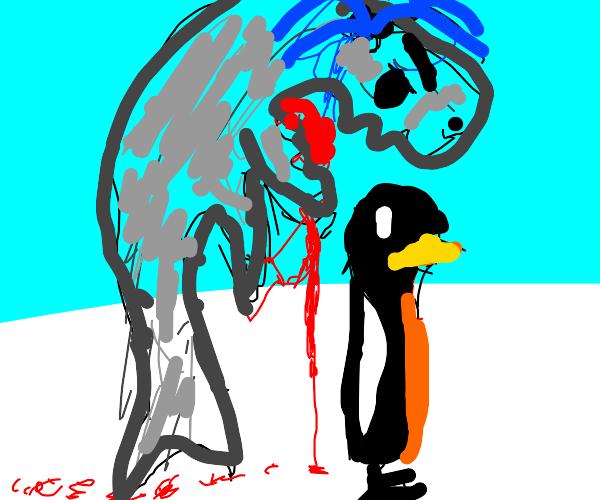 Killer whale ready to eat mr penguin
