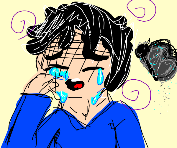 Crying man near a butterfly