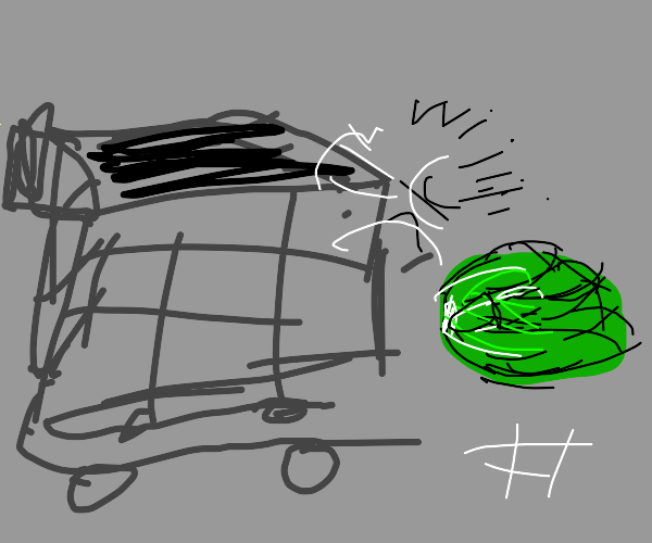 Lettuce falling out of a shopping cart