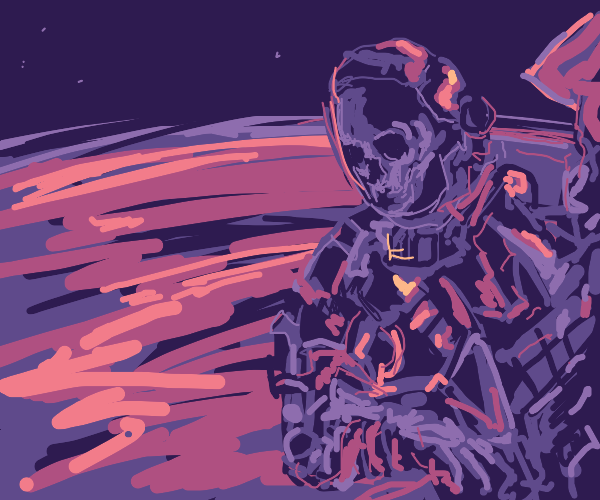 skeleton astronaut looks down at earth