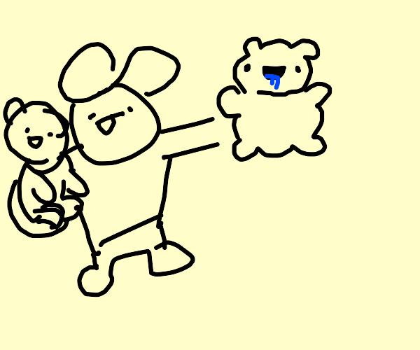 Kid holds two derpy teddy bears