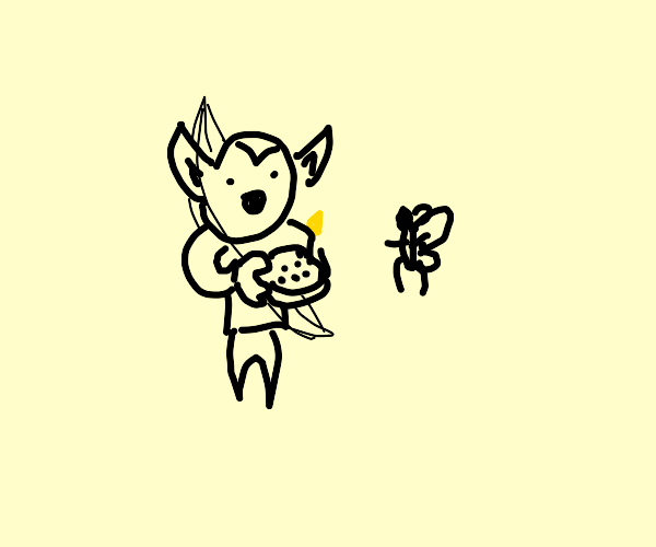 elf giving fairy a cake