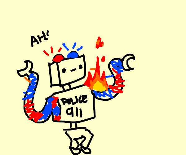 police robot on fire