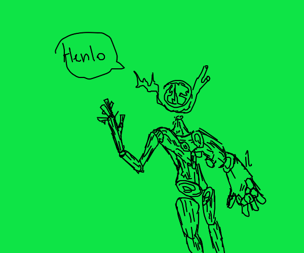 Stickman says Henlo on a green background