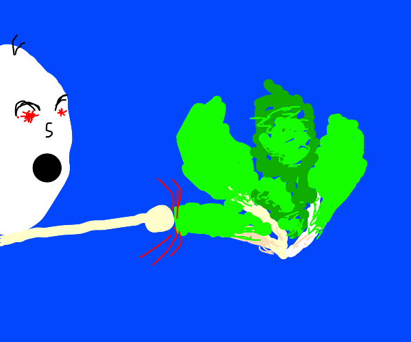Angry man punches lettuce