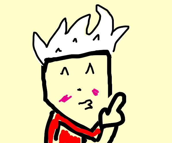 white haired anime guy in blueoutfit shushing