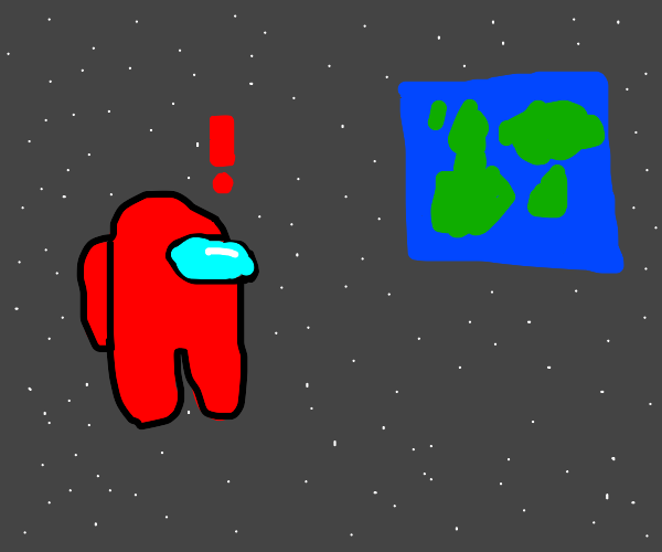 amongus astronaut notices earth is cube