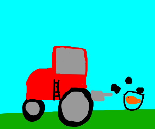 Goldfish loves tractor fumes