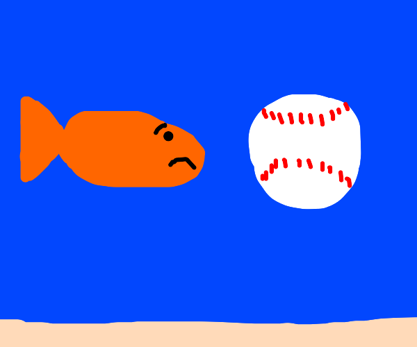 Orange fish looks worried at baseball