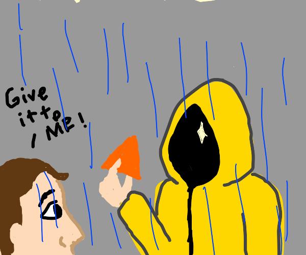 man wants dorito from raincot man
