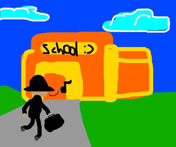 businessman goes to school
