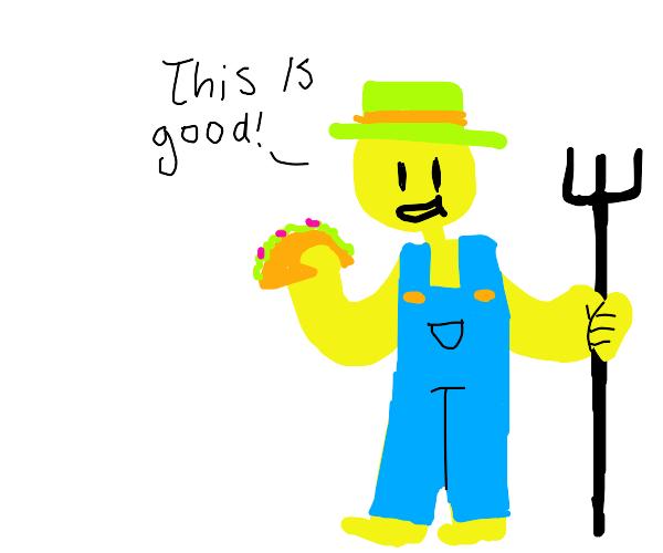 Farmer Eating