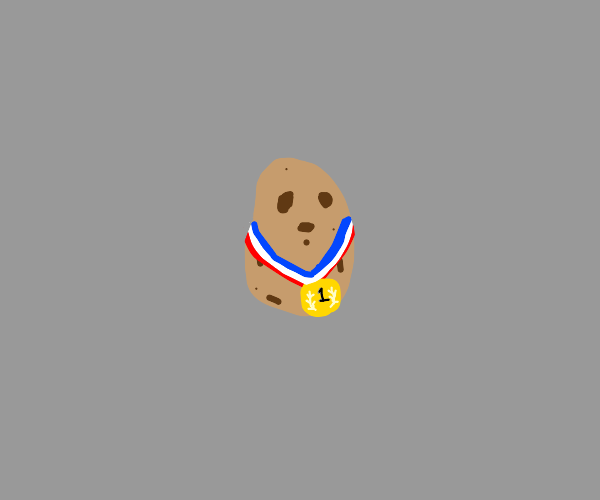 A potatoe wearing a Gold medal