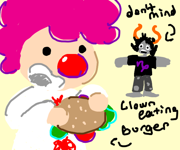 Clown (not scary) eats a hamburger