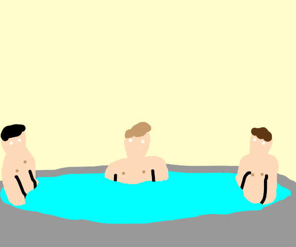 3 guys in a hot tub