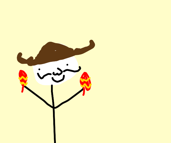 guy with maracas and sandwich sombrero