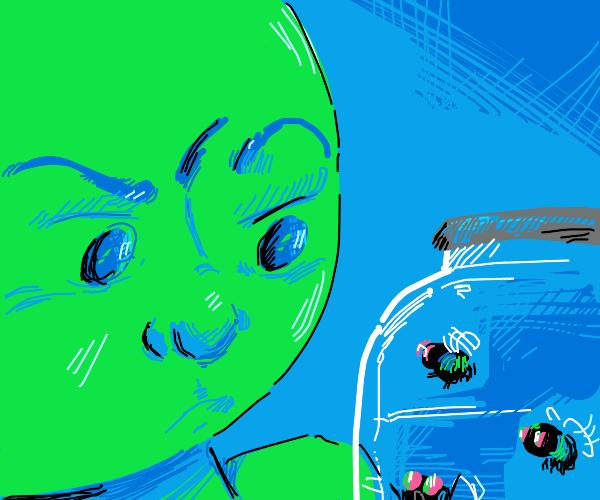 a green face looking at a jar of flies