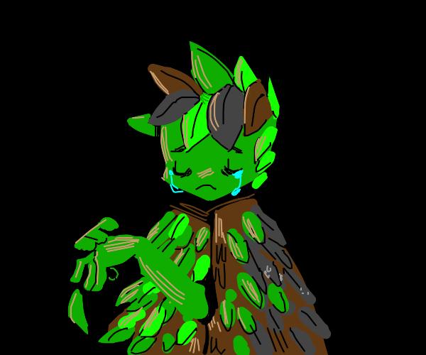 Sad leaf man.