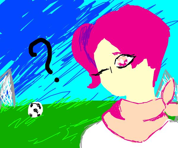 stunning waifu lost on soccer field