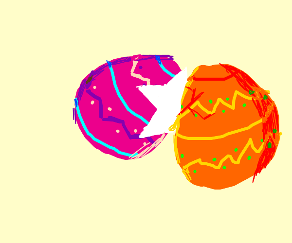 Easter eggs hitting on each other