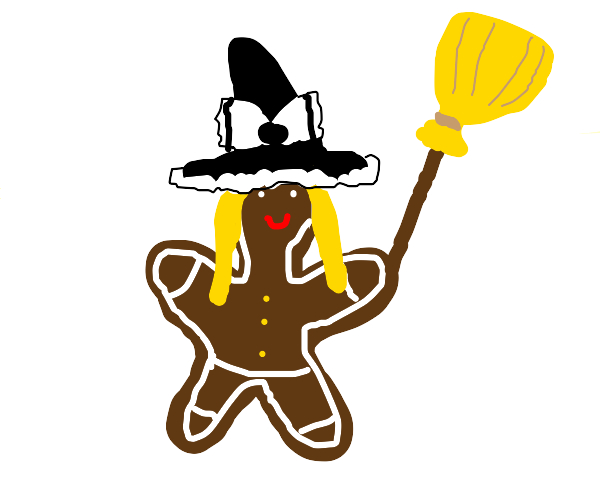 Gingerbread witch with broom stick