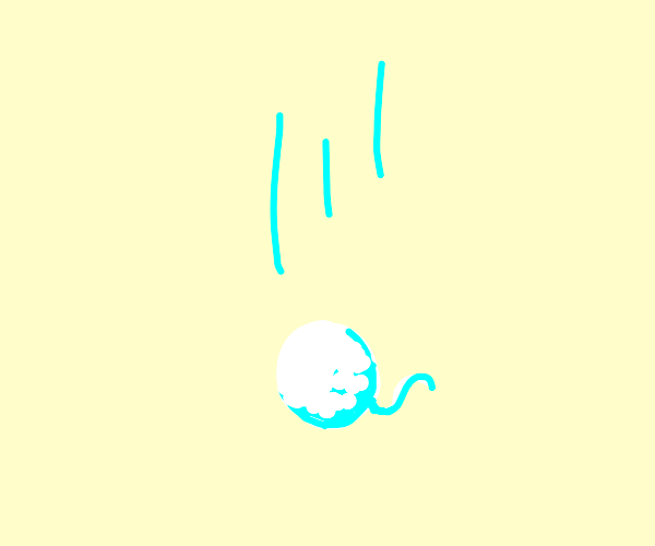 falling snowball with a tail