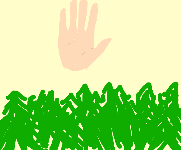 hand over trees