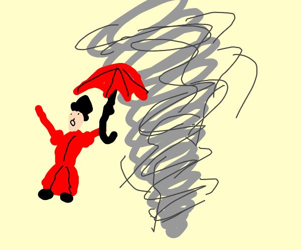 Mary Poppins on a tornado