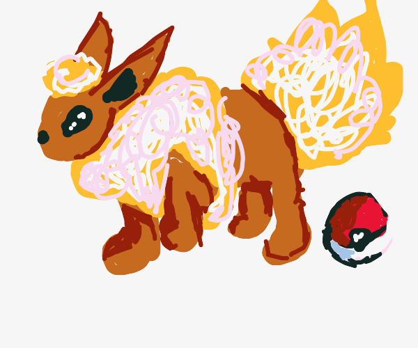 Flareon next to a Pokeball