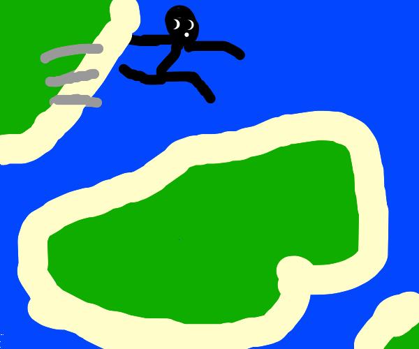 Titan jumping over the Ocean