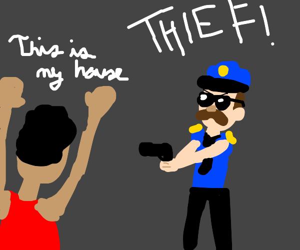 cop shooting thief