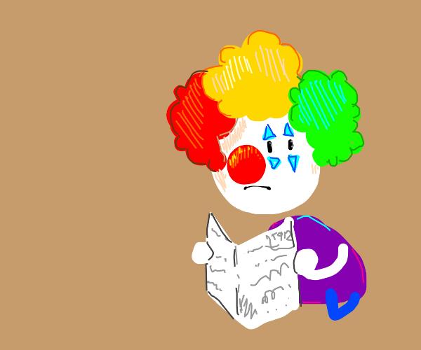 clown reading the newspaper