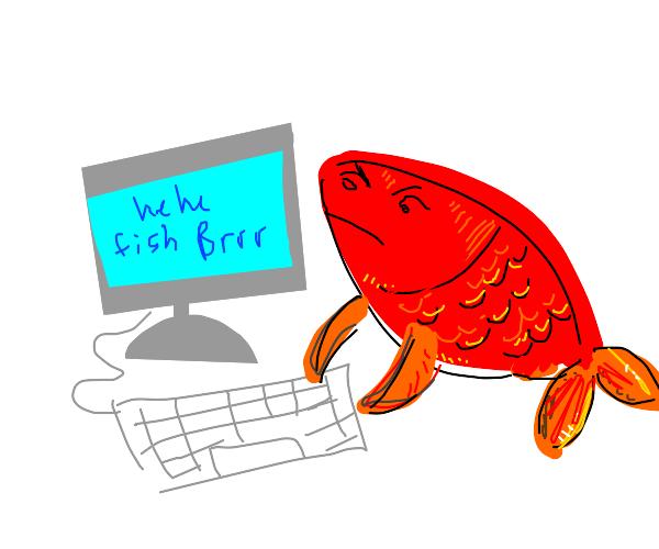Fish at computer