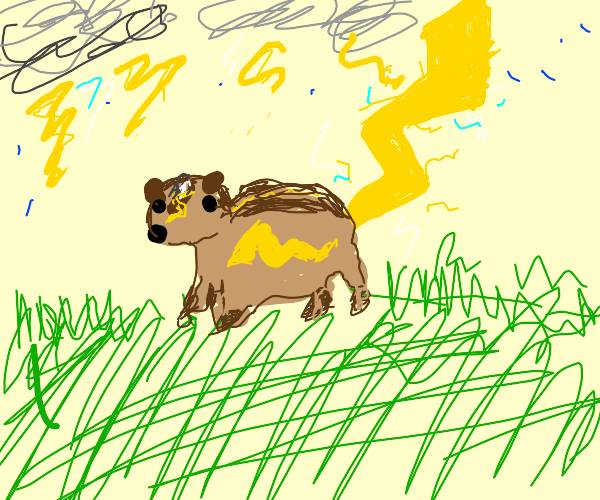 a chipmunk with lighting tail and mark
