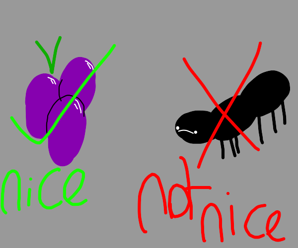 grapes are nice, bugs are not