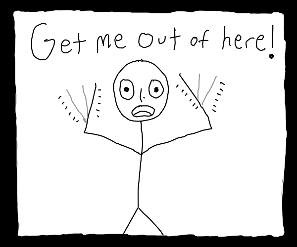 Man inside a drawception panel