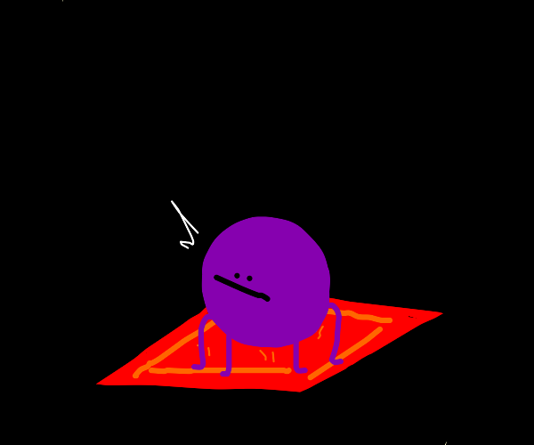 purple spider going down a red carpet
