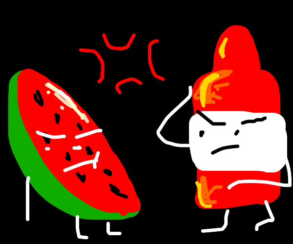 watermelon and ketchup mad with eachother
