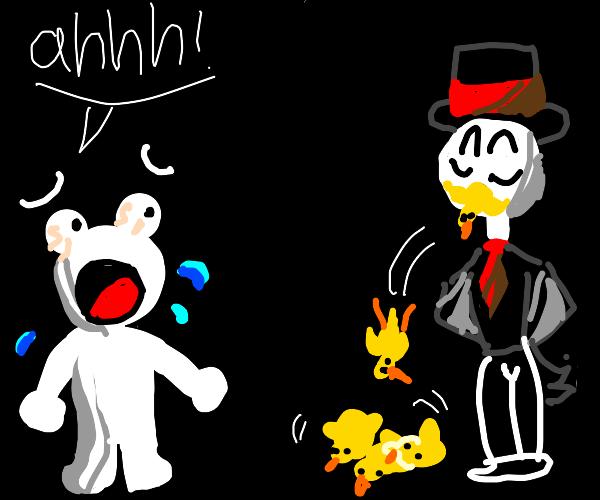 magician frightening children