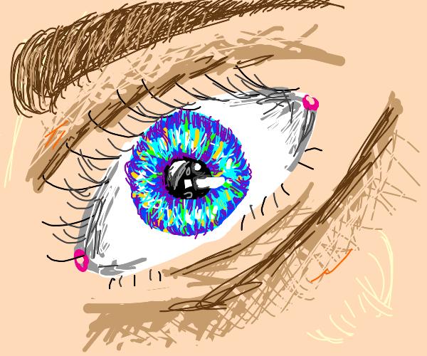 close up of a blue eyeball