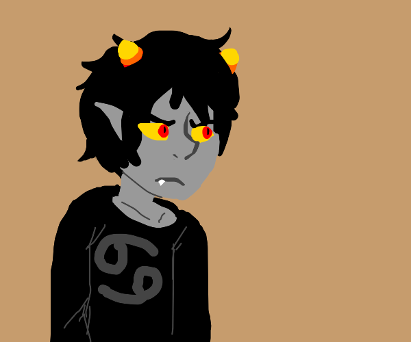 Emo demon kid with candy corn horns