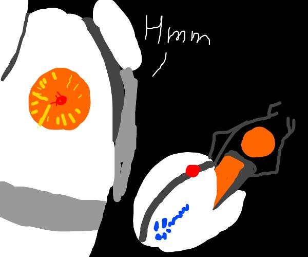Robot examines a portal gun