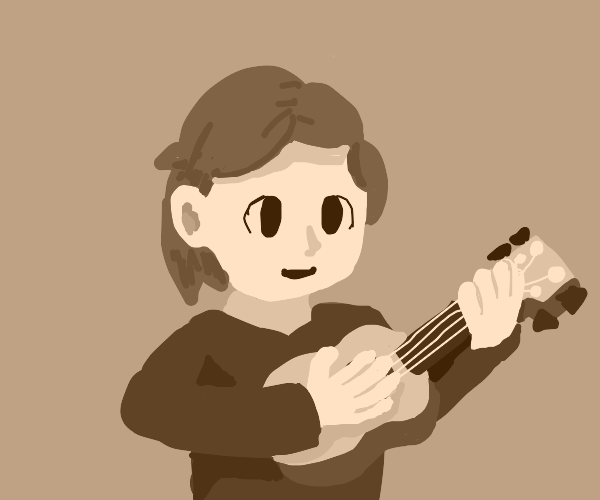 Guy plays ukelele