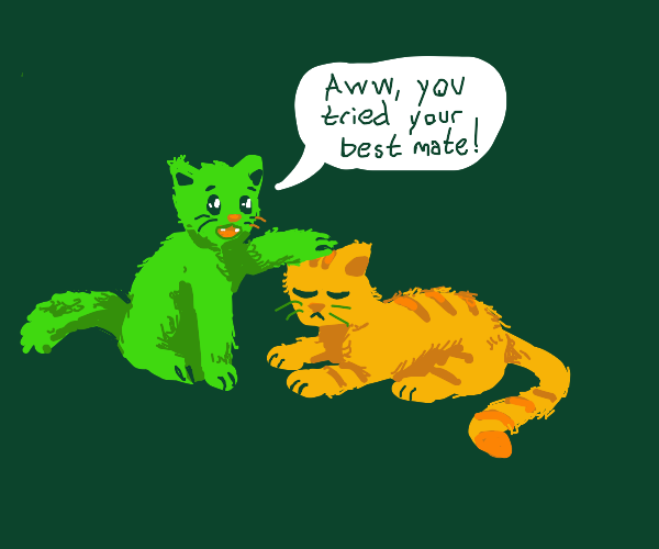 green cat tells yellow cat he tried his best