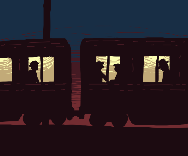 Train cars with silhouettes during night
