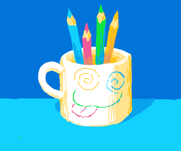 Pencil coloured mug filled with pencils
