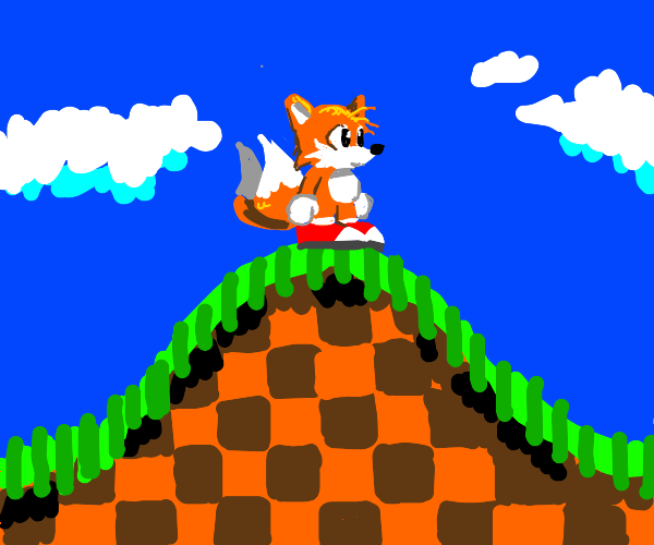 Tails on a green hill