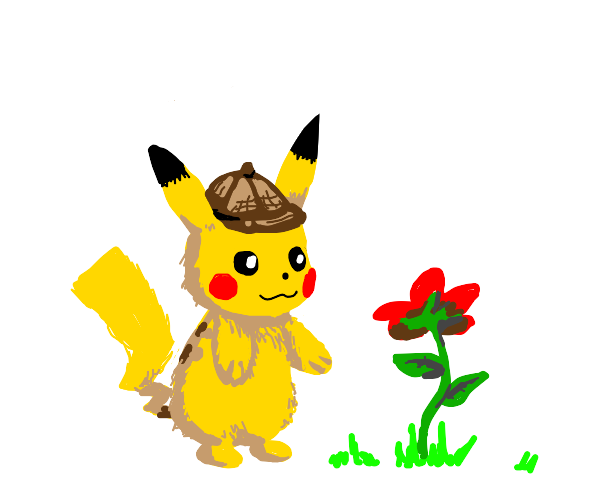 Detective Pikachu looking at flower