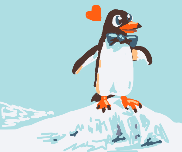 Adorable penguin with a heart ♡